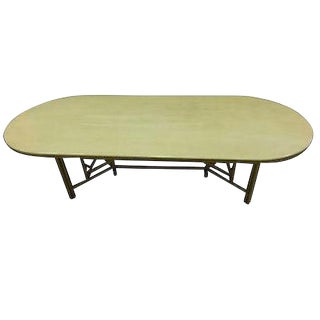 McGuire Large Rattan Bamboo Dining Table For Sale