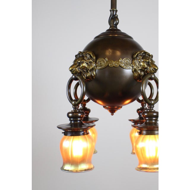 Classic Revival Lion Light Fixture For Sale - Image 4 of 10