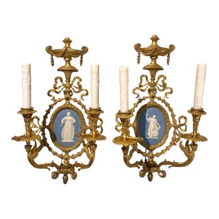 Pair of Exquisite Adam Style Ormolu Wall Sconces With Wedgwood Plaques For Sale