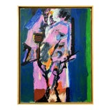 Image of 1970s Vintage Jobert Yves French Oil on Paper Painting For Sale