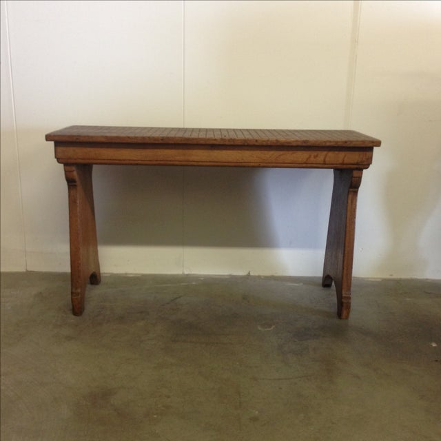 Lodge Antique Belgian Wood Bench For Sale - Image 3 of 7