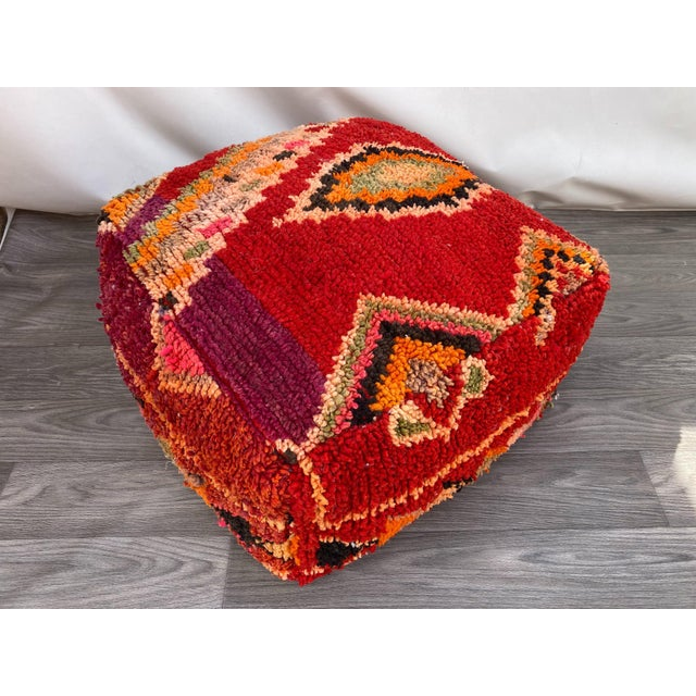 1980s Vintage Moroccan Pouf Cover For Sale - Image 9 of 10
