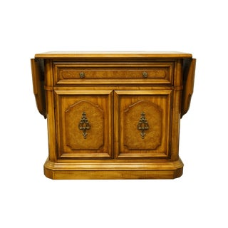 """Stanley Furniture Italian Neoclassical Tuscan Style 39"""" Drop-Leaf Server W. White Marble Top For Sale"""