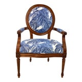 Image of Port 68 French Style Blue Palm Print Avery Arm Chair For Sale