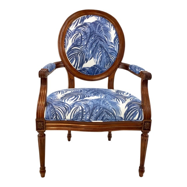 Port 68 French Style Blue Palm Print Avery Arm Chair For Sale
