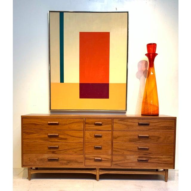 Mid Century Modern Lane Furniture 12 Drawer Walnut Credenza / Dresser This Mid-Century Modern chest of drawers was...