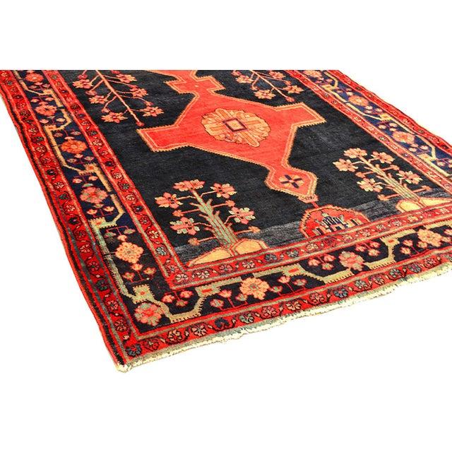 """Vintage Hamadan Wool Area Rug- 5' x 7' 4"""" - Image 3 of 3"""