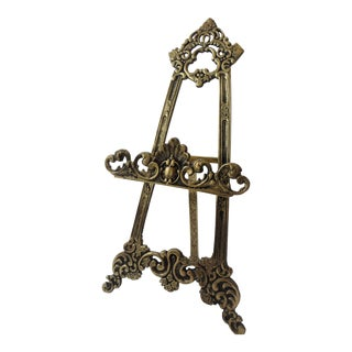Large Vintage Ornate Brass Table Top Easel
