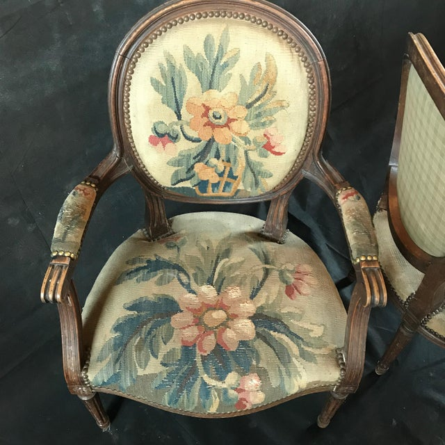 Wood Period French Walnut Louis XVI Antique Carved Tapestry Fauteuils - a Pair For Sale - Image 7 of 9