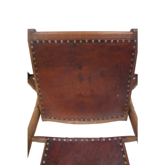 Campaign Style Leather & Ash Folding Chairs - Pair - Image 9 of 10