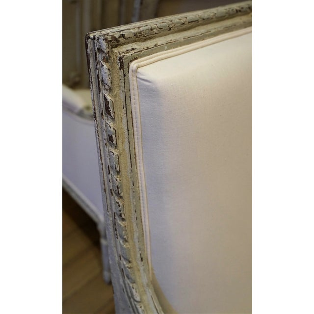 Pair of Marquis 19th C Louis XVI Bergeres For Sale - Image 10 of 12