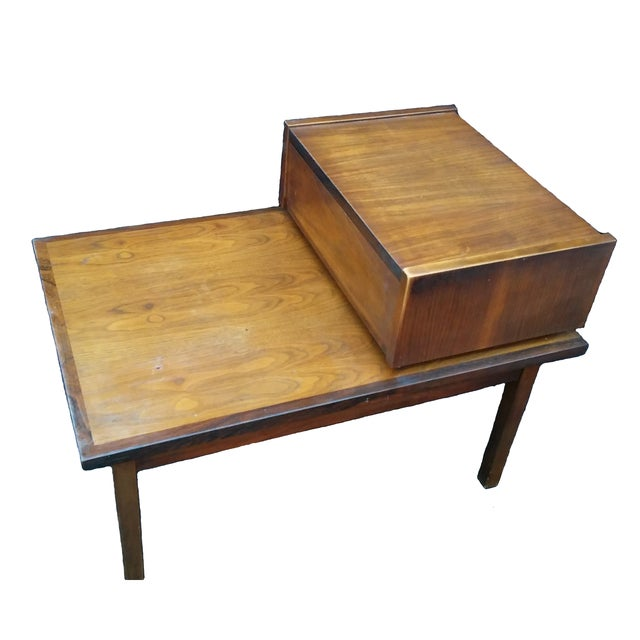stanley mid century modern tiered side table chairish. Black Bedroom Furniture Sets. Home Design Ideas