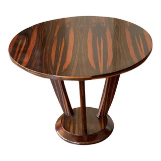 Art Deco Round Table Macassar Wood, Italy, Circa 1920 For Sale