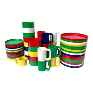 1970's Large Set of Stackable Tableware by Massimo Vignelli for Heller Design For Sale