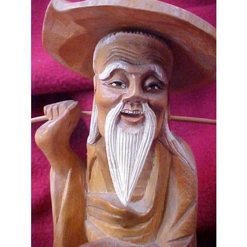 Asian Hand Carved Asian Water Bearer For Sale - Image 3 of 8