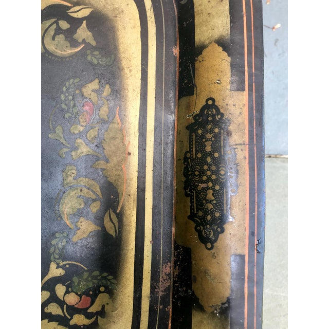19th Century Early American Stenciled Tole Tray Table For Sale - Image 4 of 11