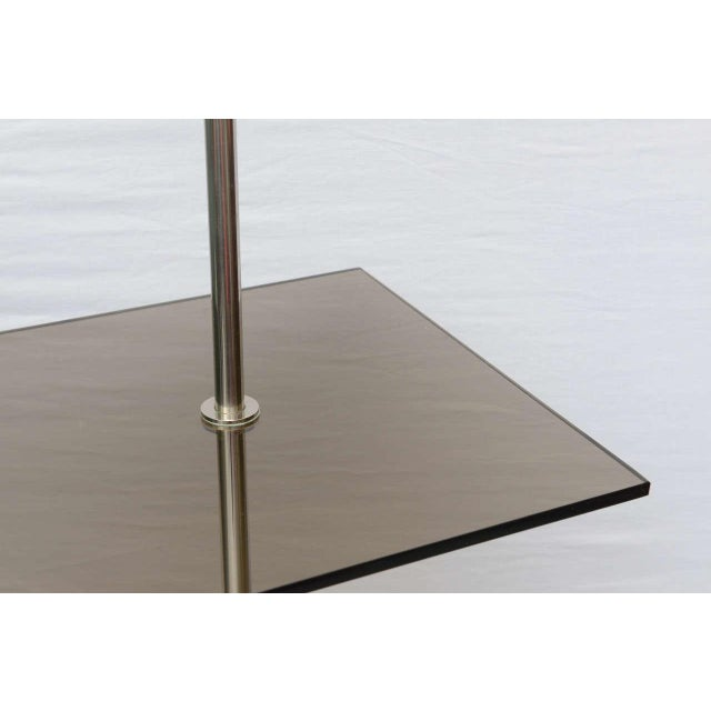 Chrome floor lamp with smoke glass table by Laurel--USA 1960s For Sale In Miami - Image 6 of 6