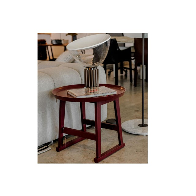 Contemporary Red Matte Shellac Round Side Table, B&b Italia For Sale - Image 3 of 5