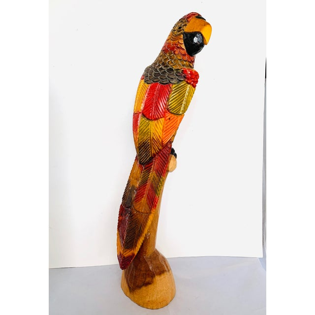 Painted Carved Wood Parrot Sculpture For Sale - Image 12 of 12