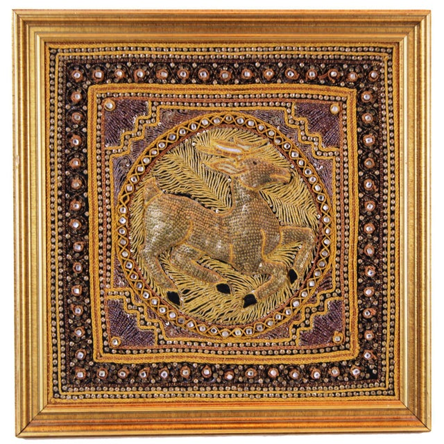 Pasargad DC Hand Made India Beaded Gazelle Raised Wall Art - a Pair For Sale - Image 4 of 12