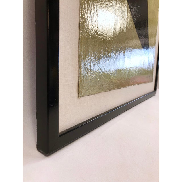 Abstract Original Framed Betty Gold Artwork Black Geometric Form Against Metallic Paper Signed For Sale - Image 3 of 12