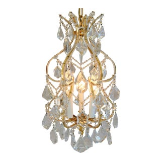 Vintage Chic Hollywood Glam French Style Crystal Chandelier For Sale
