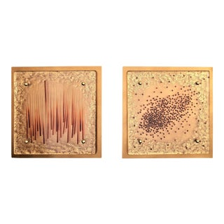 Modern Colored Lucite-Resin Wall Sculptures Mounted on Gold Leaf Wooden Plaques A-Pair Millennial Pink