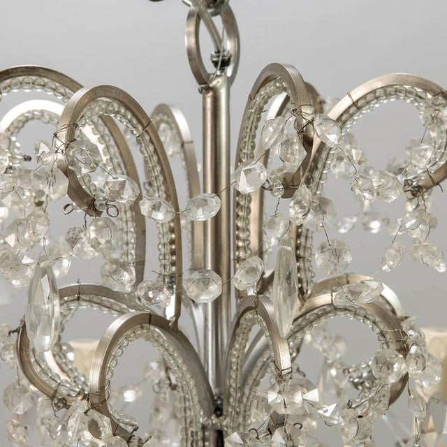 Sixteen Arm Silver Metal Highly Beaded French Chandelier For Sale In Detroit - Image 6 of 9