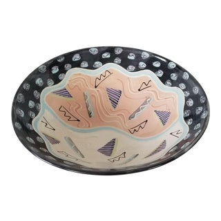 1980 Postmodern Hand Painted Decorative Pottery Bowl , Signed . For Sale