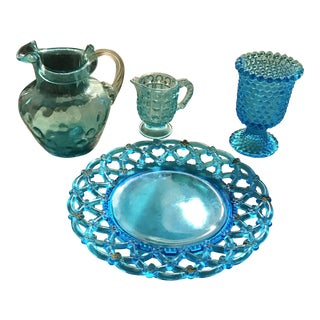 Vintage Aqua Blue Hobnail Textured Pitcher, Dish, Sugar Bowl Serving - Set of 4