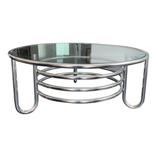 1950s French Modernist Round Chrome Cocktail Table For Sale