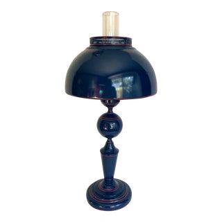 Vintage Navy Blue and Red Tole Table Lamp For Sale