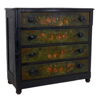 19th Century Victorian Polychrome Floral Painted Chest of Drawers For Sale