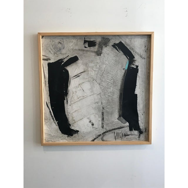 Abstract 1960s Abstract Black and White Painting by Graham Harmon For Sale - Image 3 of 9