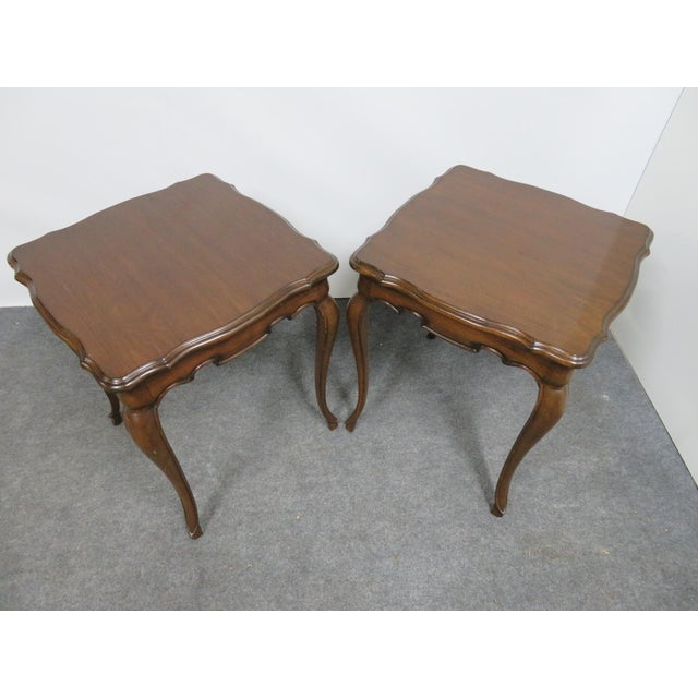 French Style Walnut Side Tables - a Pair For Sale - Image 4 of 6