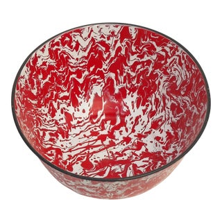 Mid-Century Liquid Red & White Design Enamel Bowl