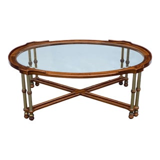 Knob Creek Faux Bamboo Brass & Ash Coffee Table For Sale