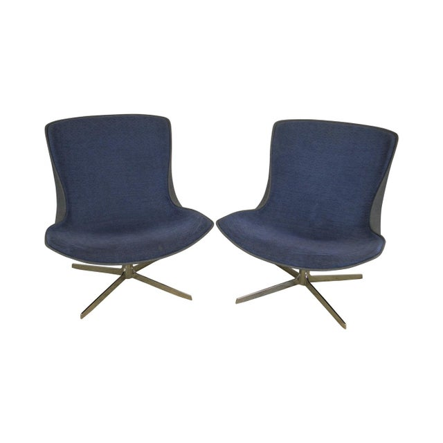 Monica Forster for Bernhardt Pair of Chrome Base Swivel Vika Lounge Chairs For Sale - Image 13 of 13