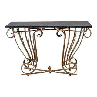 Vintage Art Deco Style Wrought Iron Granite Top Sofa Console Table For Sale