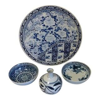 Vintage Blue & White Porcelain Pattern Set - 4 Pieces For Sale