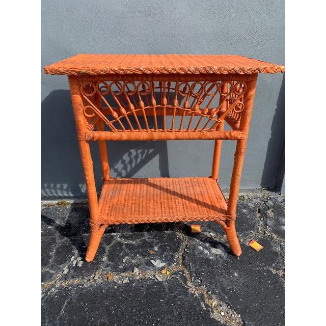 Orange Polo Ralph Lauren Wicker Side Table For Sale - Image 8 of 8