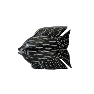 Indonesian Black Soapstone Fish Wall Sculpture For Sale