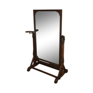Aesthetic Movement American Antique Victorian Oak Cheval Mirror: Daniel Pabst Attributed For Sale