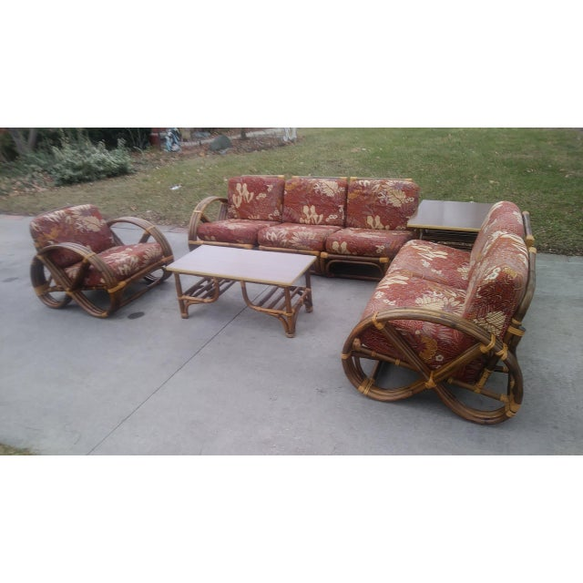 Vintage Mid Century Paul Frankl Style Pretzel Arm Rattan Bamboo Sofa - Set of 5 For Sale In Detroit - Image 6 of 13