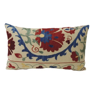 "Vintage Colorful Floral Embroidery ""Suzani"" Decorative Lumbar Pillow For Sale"
