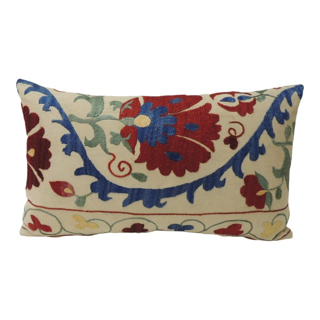 """Vintage Colorful Floral Embroidery """"Suzani"""" Decorative Lumbar Pillow For Sale"""