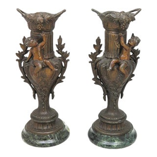 1840 Antique French Mantle Vases - a Pair For Sale