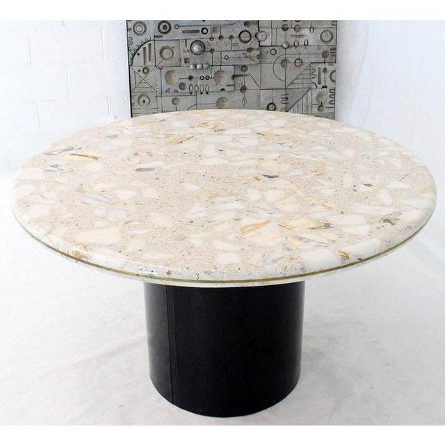 Mid-Century Modern Round Marble Top Cylinder Base Center Conference Gueridon Dining Table For Sale - Image 3 of 10