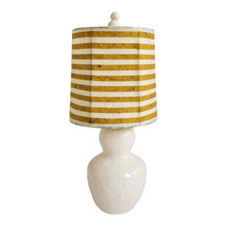 Contemporary kRI kRI Studio White Ceramic Lamp With Handmade Paper Shade For Sale