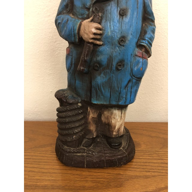 Carved Wood Look Sea Captain Novelty Lamp For Sale - Image 4 of 6